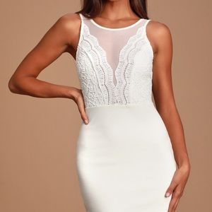 Lulus Coquina White Lace Bodycon Dress Size S